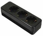 as-Schwabe 11732 Steckdosenleiste 3-fach, schwarz, geschraubt ohne Leitung