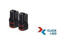 Bosch Akkupack GBA 12 Volt, 3,0 Ah, 2 Stück 1600A00X7D