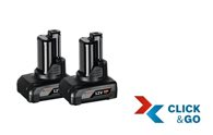Bosch Akkupack GBA 12 Volt, 6,0 Ah, 2 Stück 1600A00X7M