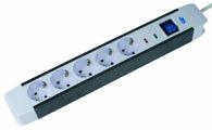 as-Schwabe 18665 5-fach Überspannungs-Steckdosenleiste, mit Schalter und Kinderschutz, 1,5m Kabel mit Schuko-Stecker