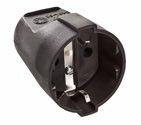 as-Schwabe 45012 Schutzkontakt-Kupplung, schwarz, max. Querschnitt1,5mm² 230V