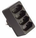 as-Schwabe 48412 Eurostecker 4-fach, schwarz, 230 V