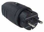 as-Schwabe 60410 Gummistecker, schwarz, doppelter Schutzkontakt