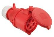 as-Schwabe 60427 CEE-Kupplung 400V/32A, rot, mit Klappdeckel