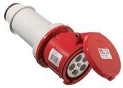 as-Schwabe 60428 CEE-Kupplung 400V/63A, rot, mit Klappdeckel