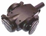 as-Schwabe 60455 Vollgummi-3-fach-Verteiler-Steckdose, schwarz, schwere Ausführung