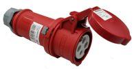 as-Schwabe 60576 CEE-Kupplung 400V/32A, rot, mit Klappdeckel