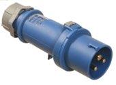 as-Schwabe 60590 CEE-Stecker 230V/32A/3polig/6h -IP44-, blau, mit Schraubanschluss