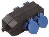 as-Schwabe 60600 4-fach-Verteilersteckdose, schwarz, mit Klappdeckeln