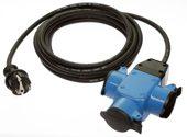 as-Schwabe 62058 3fach Gummiverteiler blau, 4,5m H07RN-F 3G1,5 Stecker/230V/16A