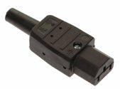 as-Schwabe 62081 Thermoplast-Gerätesteckdose 70°, schwarz, Typ C13 Kaltgeräte