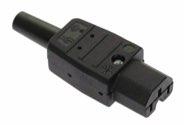 as-Schwabe 62082 Thermoplast-Gerätesteckdose 120°, schwarz, Typ C15 Warmgerät