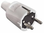 as-Schwabe 62220 PVC-Schutzkontakt-Stecker, grau, doppelter Schutzkontakt