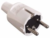 as-Schwabe 62221 PVC-Schutzkontakt-Stecker, weiß, doppelter Schutzkontakt