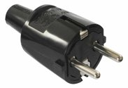 as-Schwabe 62222 PVC-Schutzkontakt-Stecker ,schwarz, doppelter Schutzkontakt