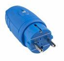 as-Schwabe 62401 Gummistecker, blau, doppelter Schutzkontakt