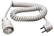 as-Schwabe 70412 Schutzkontakt-Spiralkabel 2,5 m ,weiß, Stecker u. Kupplung