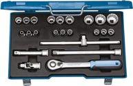 Gedore Steckschlüsselsatz 1/2 Zoll 23tlg.Hebelumschaltknarre 60 Zähne Stahlblechlasten - 2545845