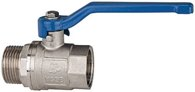 Riegler Messing Kugelhahn G 1 1/2 vernickelt / Innen/Außengewinde valve line - 115725