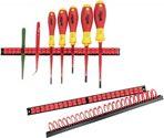 Parat Werkzeughalter 3Tlg.M.12 Verstellbaren Klammern A.Hart-Pvc Rot/Schwarz - 802-981