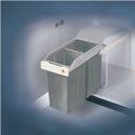 Hailo Abfallsammler Multi-Box 2 x 15l B260xT510xH460mm grau f.Unterschränke ab B.300mm - 3659-001