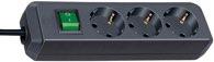 Brennenstuhl Eco-Line mit Schalter 3-fach schwarz 1,5m
