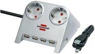 Brennenstuhl Desktop-Power-Plus USB 2-fach silber
