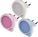 Brennenstuhl LED-Nachtlicht Set NL 01 QD Set mit Dämmerungssensor 1 LED 1,5lm, 1x weiss, 1x rosa, 1x hellblau - 1173180