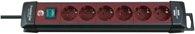 Brennenstuhl Premium-Line Steckdosenleiste 6-fach schwarz/bordeaux 3m H05VV-F 3G1,5