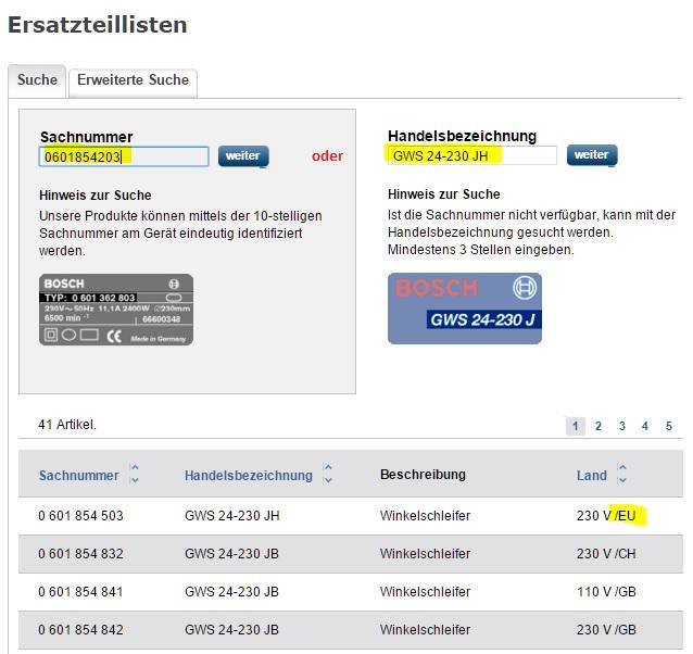 Finden Sie hier eine Anleitung zur BOSCH Ersatzteilsuche bei RUBART nach Sachnummer oder Handelsbezeichnung