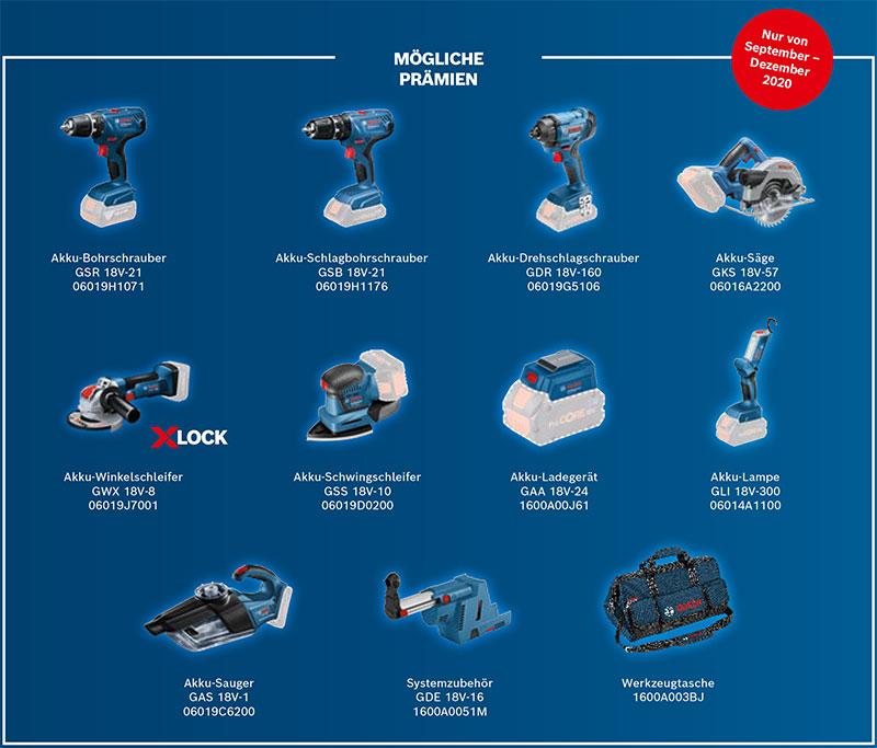 Produktauswahl Bosch 2 für 1 Aktion