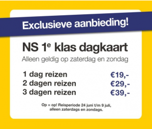 NS 1e klas dagkaarten in weekend vanaf €13 per ticket