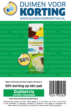 Dubbelvla vanille-chocolade met 50% korting