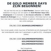 Kortingscode adam voor €25 korting  op de nieuwe collectie