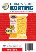 50% korting op één zak verse friet