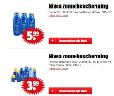 Nivea zonbescherming van €3,99 tot €5,99