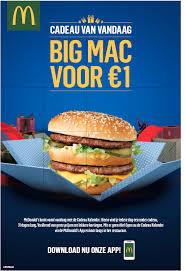 Big Mac voor €1 door actie Mc Donalds adventkalender