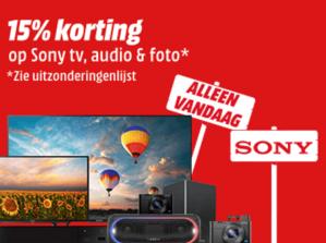 Mediamarkt 15% korting op Sony tv,audio & foto