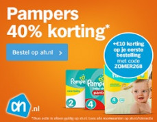 AH 40% korting op Pampers en €10 korting op je bestelling!