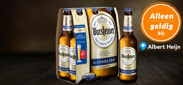 Warsteiner Alkoholfrei 6-pack: van €3,49* voor €1 dmv cashback en alleen bij Albert Heijn
