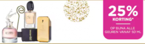 Diverse top parfums 25% korting + €20 extra korting dmv code