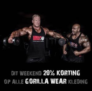 Kortingscode Gorillawear voor 20% korting op gorilla wear kleding