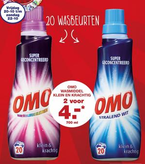 2 flessen Omo Vloeibaar Klein & Krachtig Wasmiddel voor €4