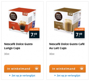 Nescafe Dolce Gusto Lungo en Gusto Cafe Au Lait 30 cups voor €7,49