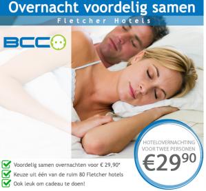 Hotelovernachting bij Fletcher Hotels 2 personen voor €29,90