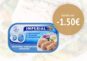 Kortingscode voor €1,50 korting op een blik kabeljauwlever Imperial 120 gram