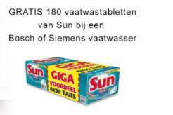 Bij aankoop van een Bosh/Siemens vaatwasser 180 Sun vaatwastabletten Gratis