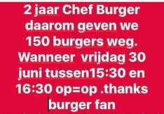 2 jaar chefburger Emmen: vrijdag 30 juni tussen 14.30 en 15.30 gratis burgers