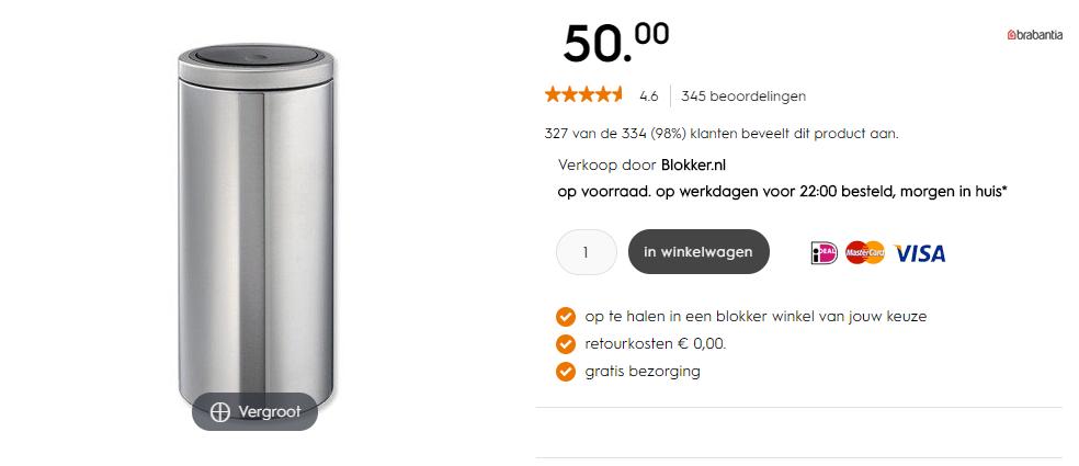 Aanbieding Brabantia Touch Bin 30 Ltr.Brabantia Touch Bin Flat Top 30 Liter Matt Steel Voor 50