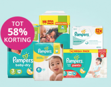 Verschillende Pampers producten met kortingen tot 58%